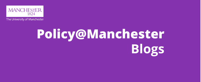 Banner image with Policy@Manchester visual branding