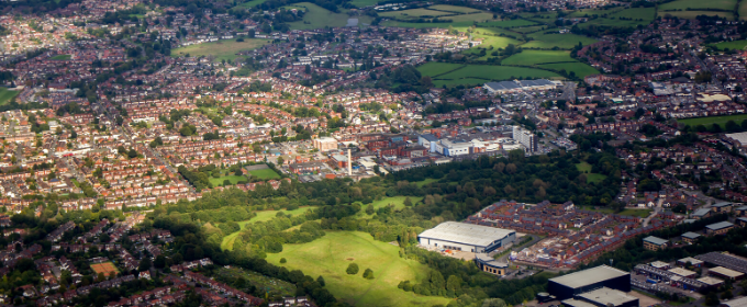 aerial snapshot of Manchester