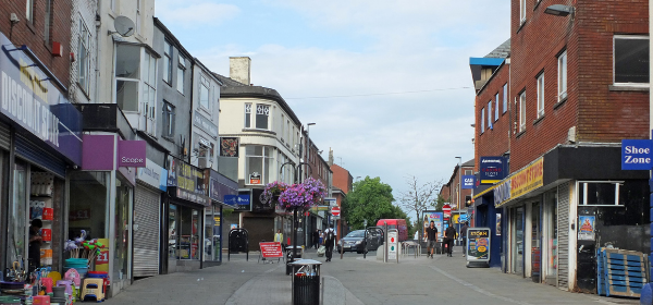 Image of Rochdale high-street on a cloudy day