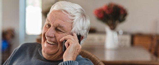 Older man speaking on a mobile phone