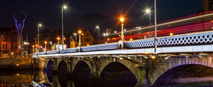 Bridge in Belfast on a dark night.